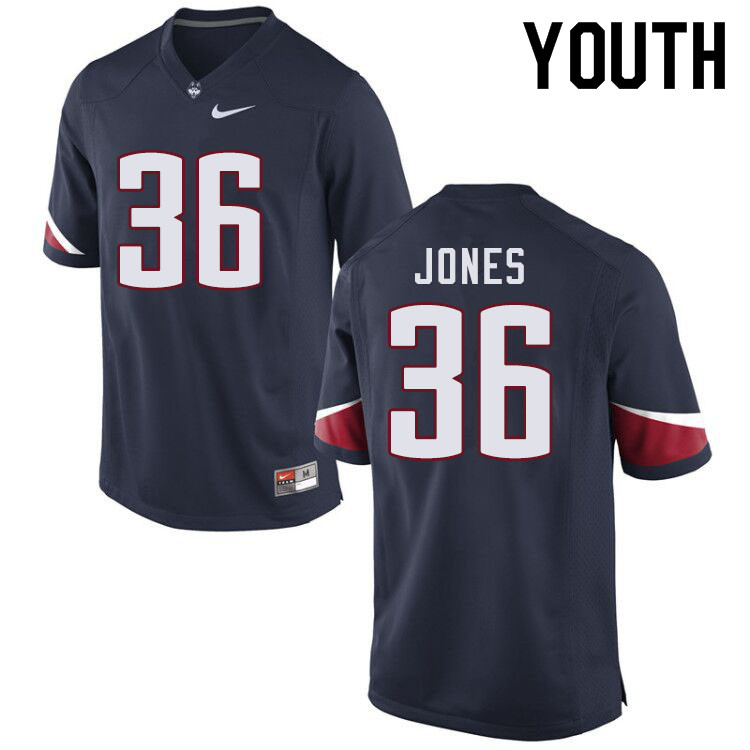 Youth #36 Jaylen Jones Uconn Huskies College Football Jerseys Sale-Navy