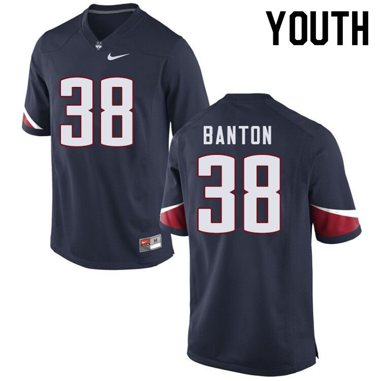 Youth #38 Lavarey Banton Uconn Huskies College Football Jerseys Sale-Navy