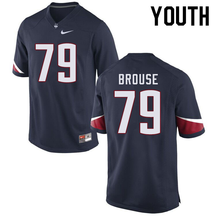 Youth #79 Noel Brouse Uconn Huskies College Football Jerseys Sale-Navy