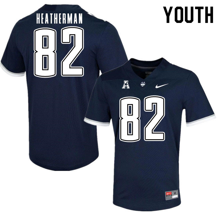 Youth #82 Brendan Heatherman Uconn Huskies College Football Jerseys Sale-Navy