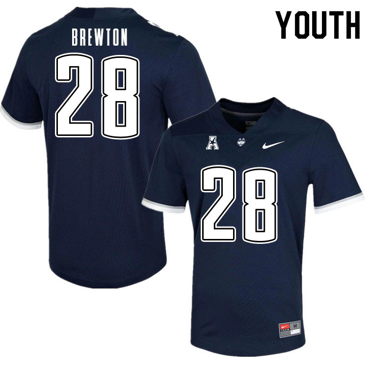 Youth #28 Brian Brewton Uconn Huskies College Football Jerseys Sale-Navy