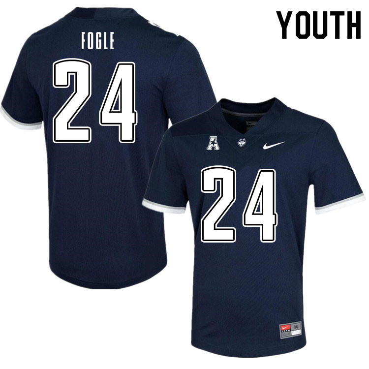 Youth #24 Desmond Fogle Uconn Huskies College Football Jerseys Sale-Navy