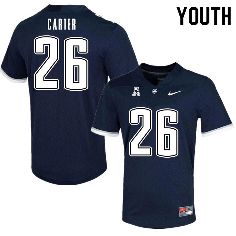 Youth #26 Nathan Carter Uconn Huskies College Football Jerseys Sale-Navy