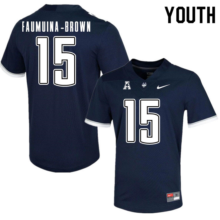 Youth #15 Tui Faumuina-Brown Uconn Huskies College Football Jerseys Sale-Navy
