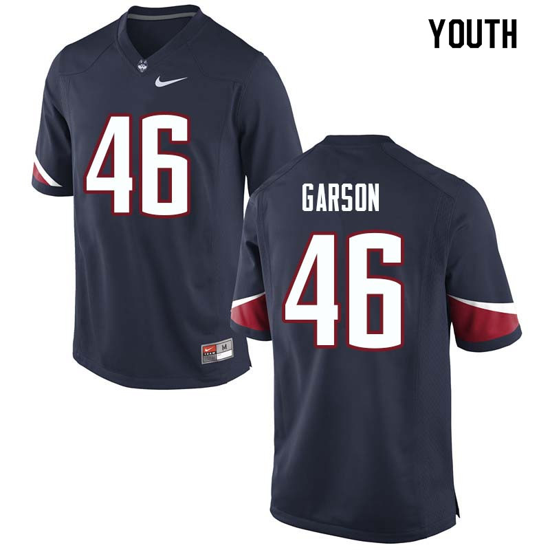 Youth #46 AJ Garson Uconn Huskies College Football Jerseys Sale-Navy