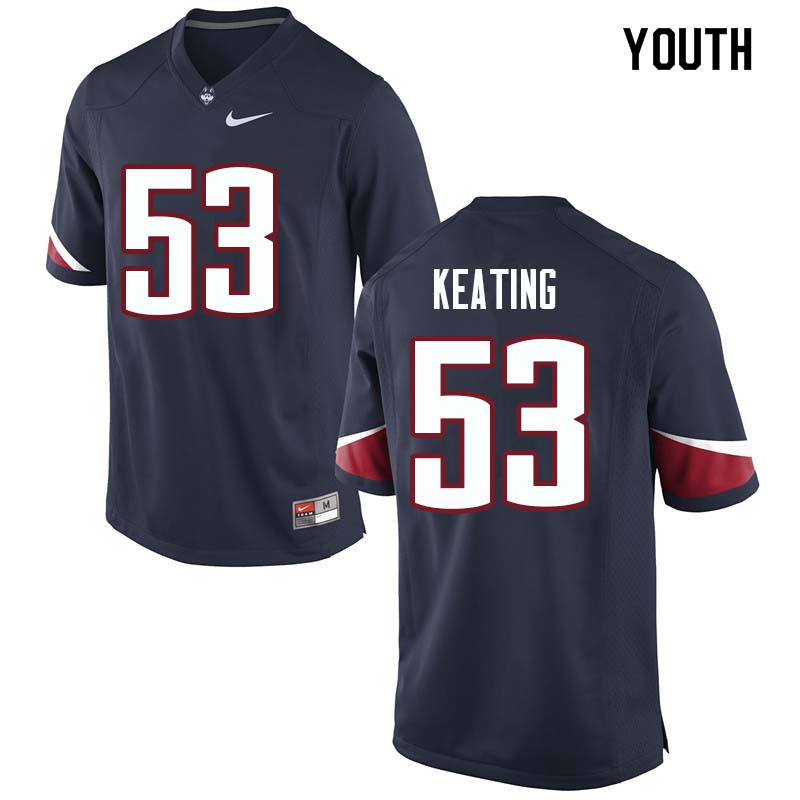 Youth #53 Brian Keating Uconn Huskies College Football Jerseys Sale-Navy