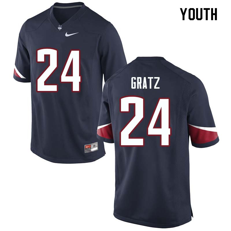 Youth #24 Dwayne Gratz Uconn Huskies College Football Jerseys Sale-Navy