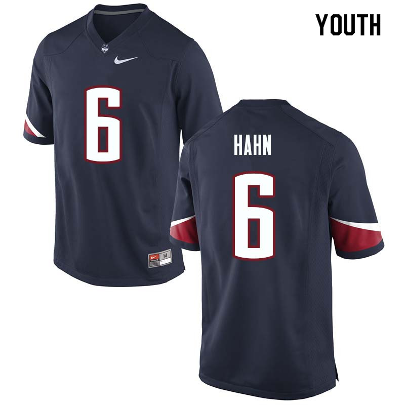 Youth #6 Eddie Hahn Uconn Huskies College Football Jerseys Sale-Navy