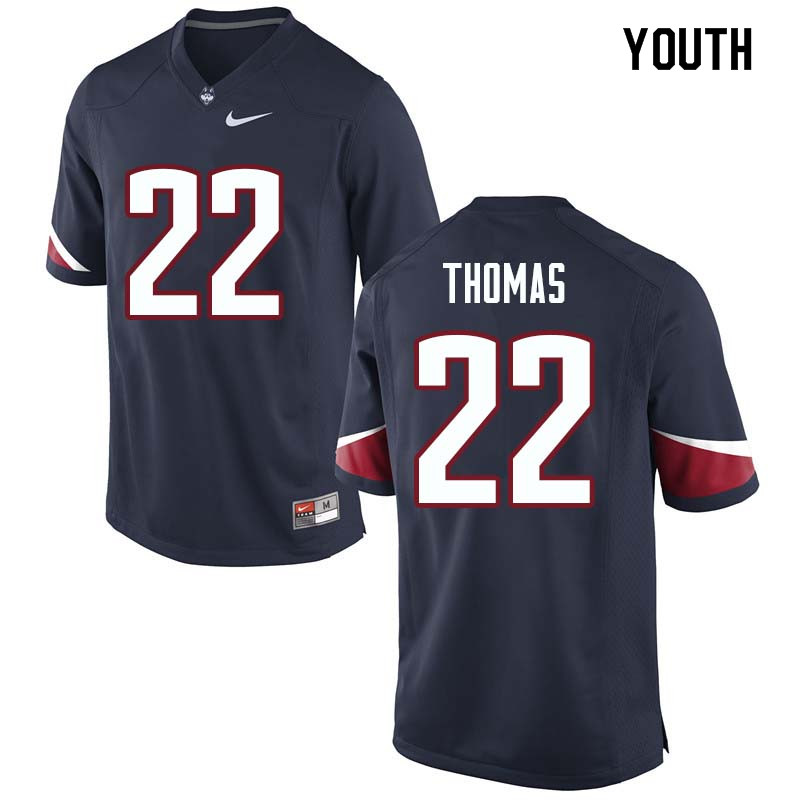 Youth #22 Eli Thomas Uconn Huskies College Football Jerseys Sale-Navy