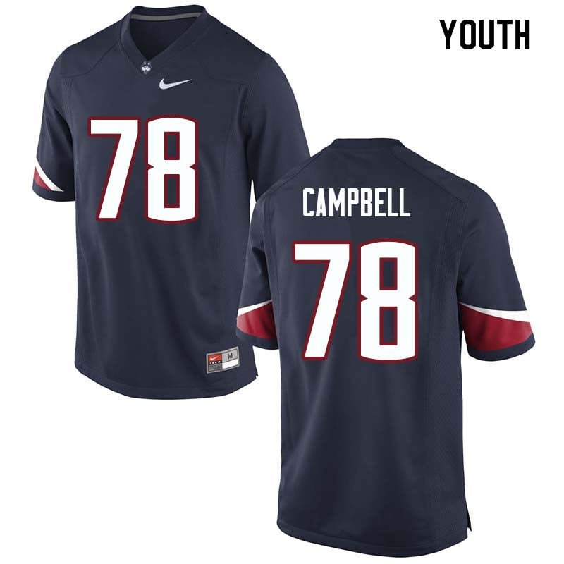 Youth #78 Ian Campbell Uconn Huskies College Football Jerseys Sale-Navy