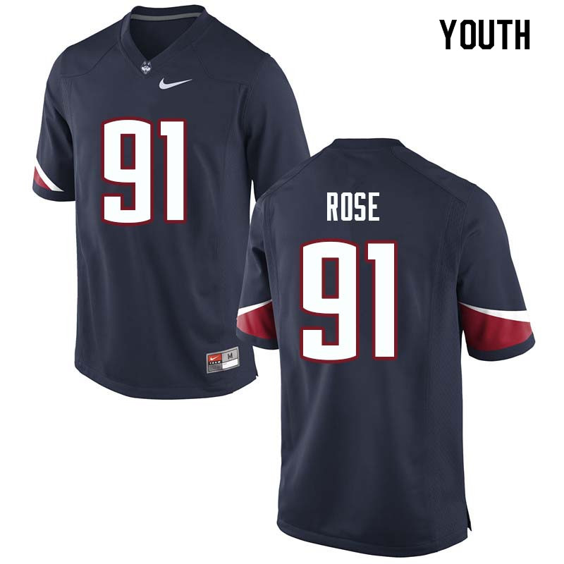 Youth #91 Jay Rose Uconn Huskies College Football Jerseys Sale-Navy