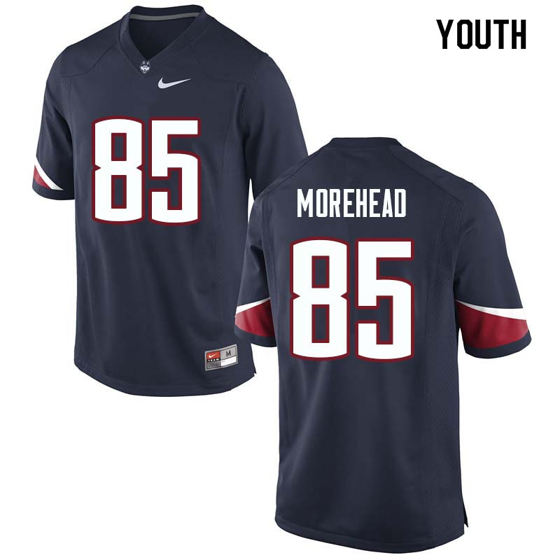 Youth #85 Justin Morehead Uconn Huskies College Football Jerseys Sale-Navy