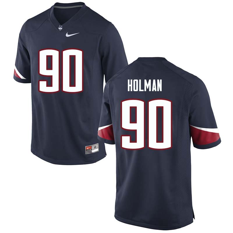 Men's #90 Zordan Holman Uconn Huskies College Football Jerseys Sale-Navy